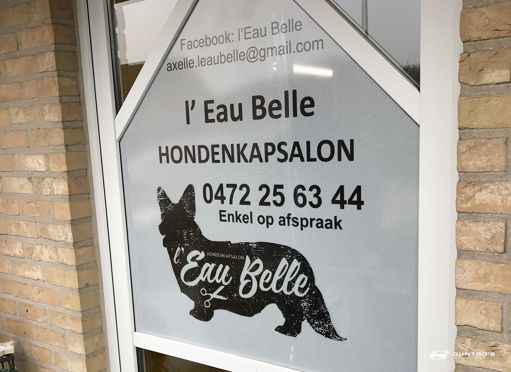 BESTICKERING HONDENSALON L'EAU BELLE