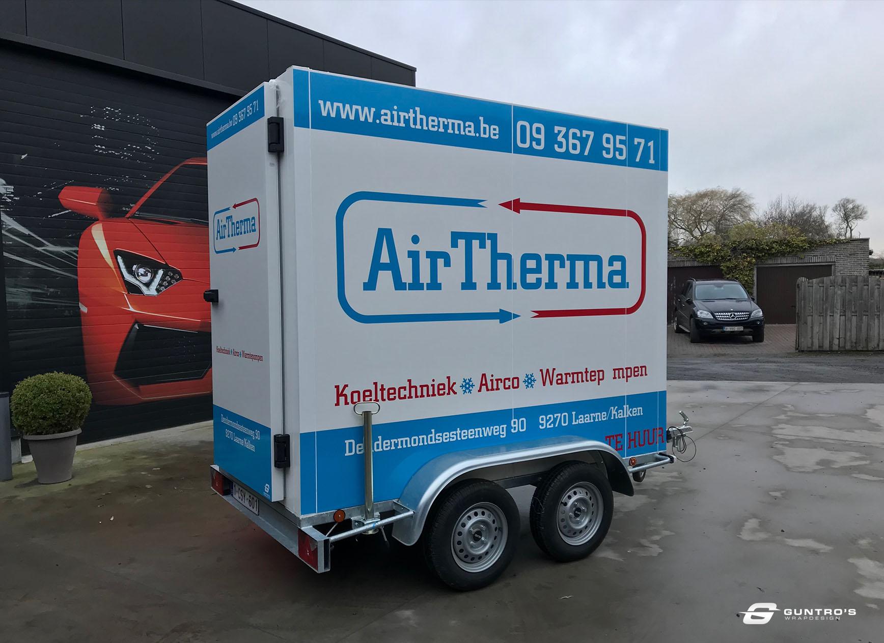 BELETTERING AIR THERMA KOELWAGEN